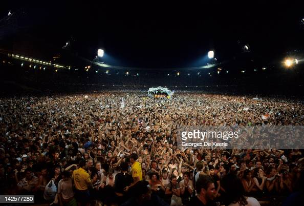 A general view of the crowd during the Live Aid concert at Wembley Stadium in London 13th July 1985 The concert raised funds for famine relief in...