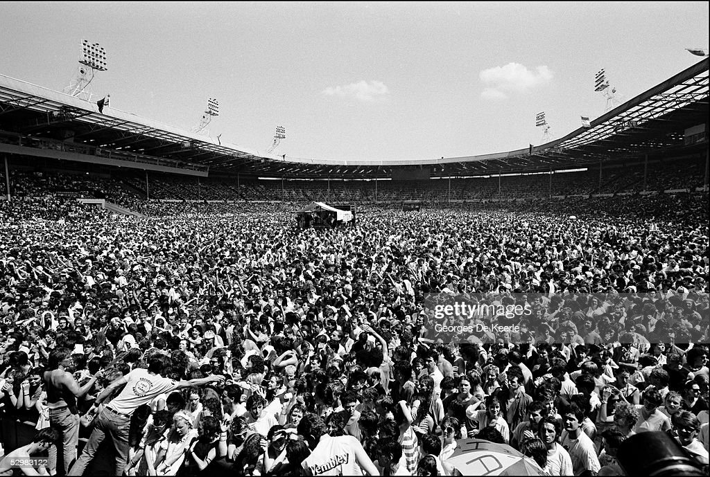 A general view of the crowd during the Live Aid concert at Wembley Stadium on 13 July, 1985 in London, England. Live Aid was watched by millions around the world on television and raised vast quantities of donated money to help relieve a severe famine in Ethiopia.
