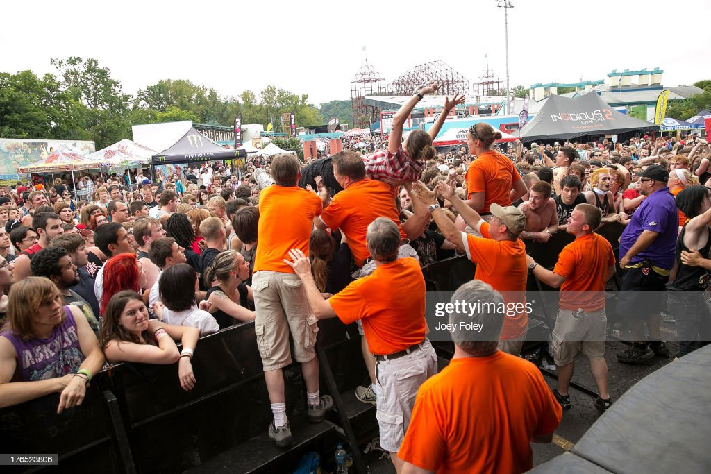 A general view of the crowd from The Monster Energy Drink stage while Oh, Sleeper performs during the 2013 Van Warped Tour at Riverbend Music Center on July 30, 2013 in Cincinnati, Ohio.