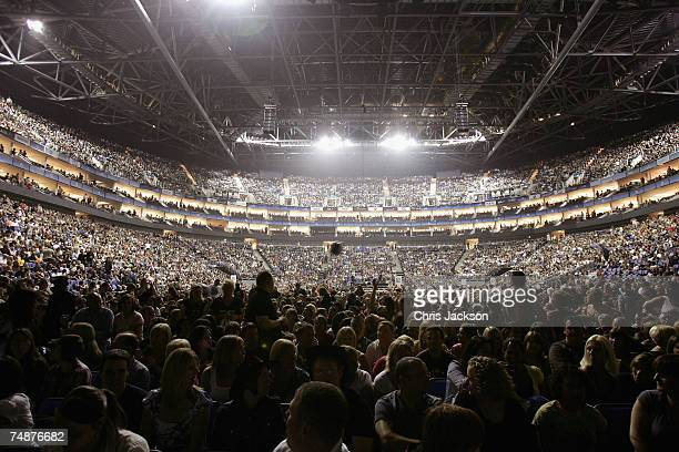 A general view of the crowd getting ready to see Bon Jovi perform as part of His Lost Highway tour at the newly branded O2 Arena on June 24 2007 in...