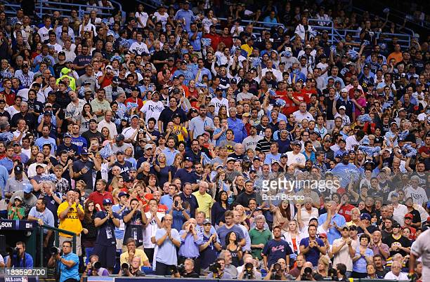 A general view of the crowd in the fourth inning during Game Three of the American League Division Series between the Boston Red Sox and Tampa Bay...