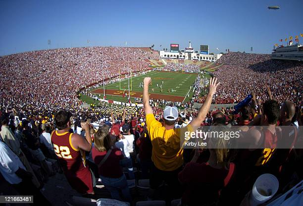 General view of the crowd of 90008 at Los Angeles Memorial Coliseum during USC football game against Cal on Saturday Oct 9 2004