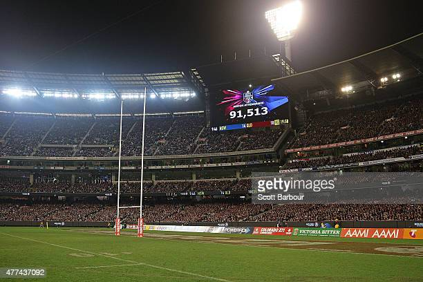 A general view of the crowd of 91513 during game two of the State of Origin series between the New South Wales Blues and the Queensland Maroons at...