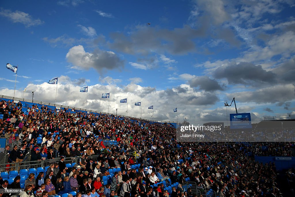 A general view of the crowd on centre court on day six of the AEGON Championships at Queens Club on June 15, 2013 in London, England.