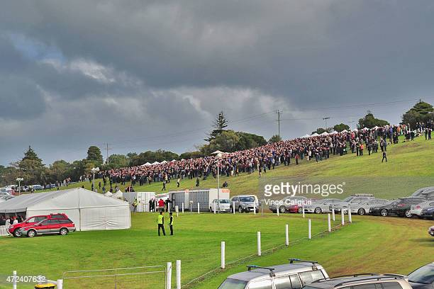 General view of the crowd on the hill during Race 7 the Wheelie Waste Grand Annual Steeplechase during Grand Annual Day at Warrnambool Racing Club on...