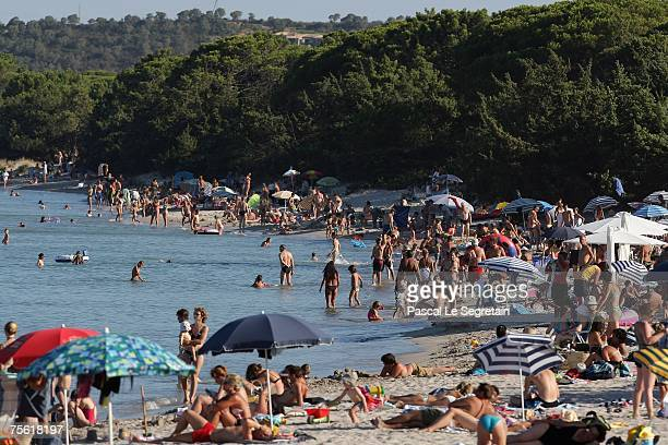 A general view of the crowded Pinarello beach on July 24 2007 in south Corsica island France