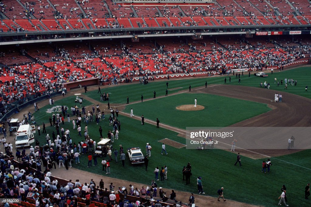 General view of the crowds in Candlestick Park after an earthquake measuring 71 on the richter scale rocks game three of the World Series between the...