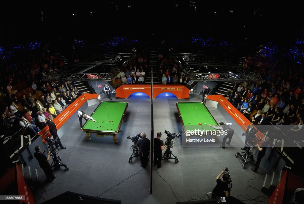 A general view of the Crucible Theatre during the first day of the The Dafabet World Snooker Championship at Crucible Theatre on April 19, 2014 in Sheffield, England.