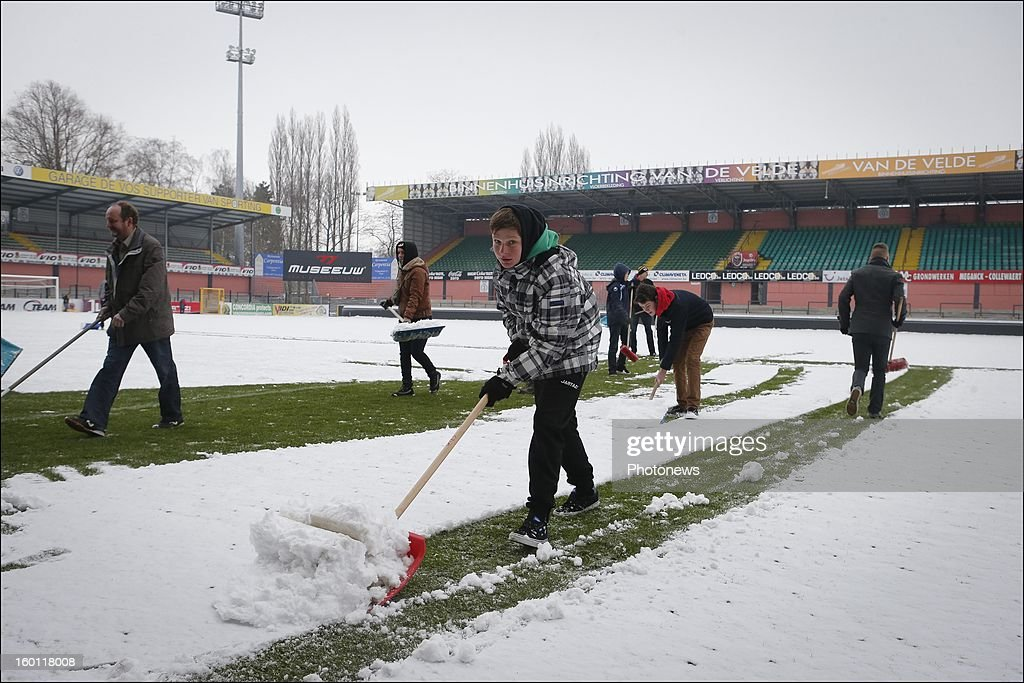 A general view of the Daknam stadium covered in snow before the Jupiler League match between Sporting Lokeren and RSC Anderlecht on January 26, 2013 in Lokeren, Belgium. Photo by Jan De Meuleneir/Photonews via Getty Images)