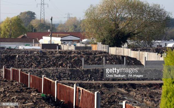 A general view of the Dale Farm illegal travellers site after the completion of the Basildon council clearance operation in Crays Hill Essex