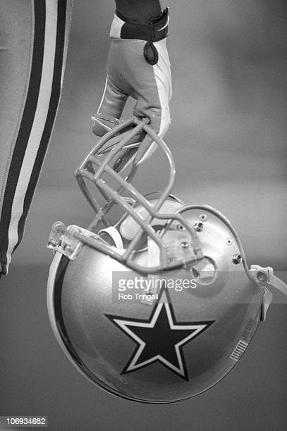 A general view of the Dallas Cowboys player holding a helmet during a game against the New York Giants on November 14 2010 at the New Meadowlands...