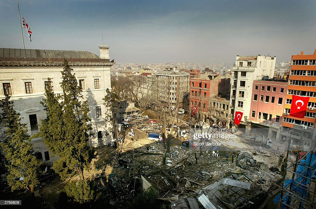 A general view of the damaged British Consulate after a truck with explosives drove into the compound November 23, 2003 in Istanbul, Turkey. Bomb attacks on the British consulate and the HSBC bank headquarters on November 20, 2003 killed 27 people and left hundreds injured.