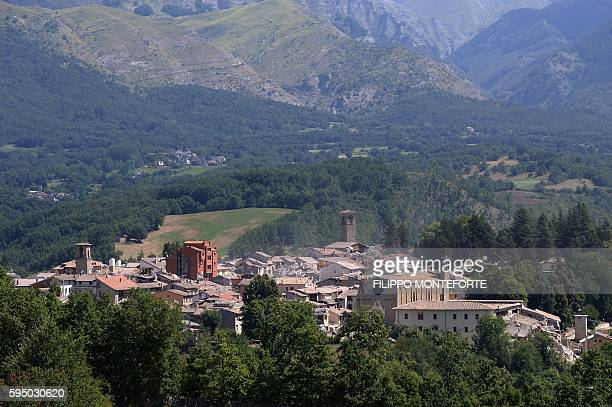 TOPSHOT General view of the damaged central Italian village of Amatrice taken on August 25 a day after a 62magnitude earthquake struck the region...