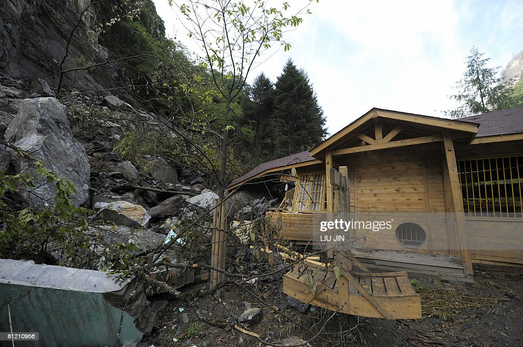 A general view of the damaged China Conservation and Research Center for the Giant Panda in Wolong a small town about 30 kilometres from the...