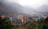 A general view of the damaged town of Beichuan in southwest China's Sichuan province on May 13 2008 China has dispatched 100000 military personnel...