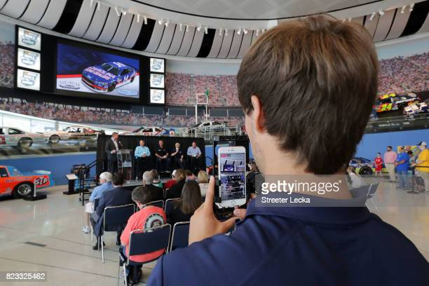 A general view of the Darlington Throwback Paint Scheme Unveil at NASCAR Hall of Fame on July 25 2017 in Charlotte North Carolina