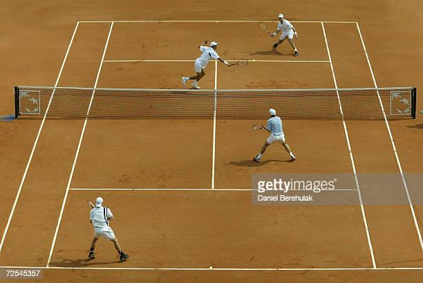 A general view of the Davis Cup doubles match between Lleyton Hewitt and Todd Woodbridge of Australia against Miles Maclagan and Arvind Palmer of...