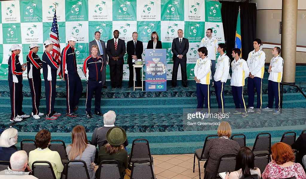 A general view of the Davis Cup Draw ceremony first round between the U.S. and Brazil at the Times-Union Center on January 31, 2013 in Jacksonville, Florida.