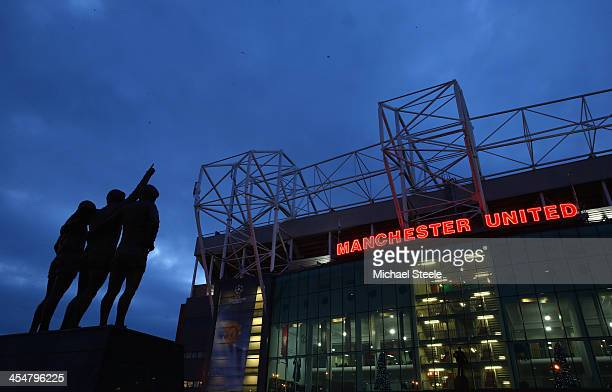 General View of the Denis Law George Best and Bobby Charlton statues prior to the UEFA Champions League Group A match between Manchester United and...