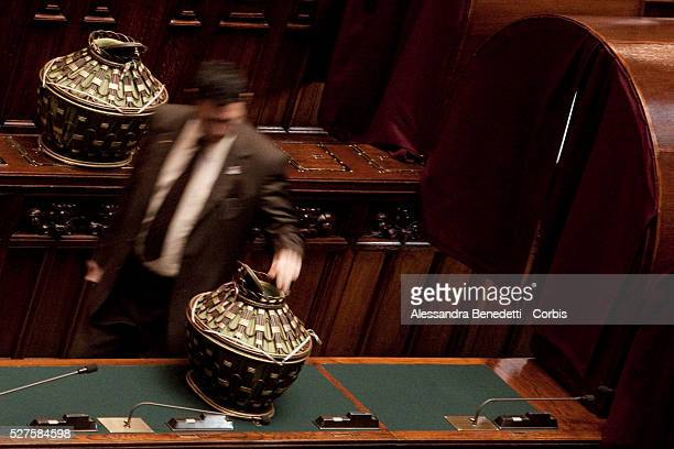 A general view of the Deputy Chamber during the votation of the Italian Parliament to elect the 12th President of the Italian Republic