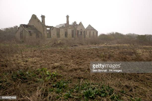 A general view of the derelict Victorian hospital on Flat Holm island in the Bristol Channel Flat Holm is a limestone island in the Bristol Channel...