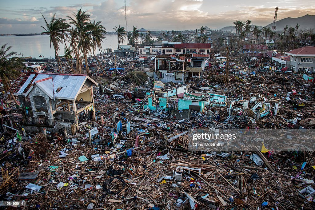 A general view of the destroyed coastline in Taclaban City on November 17 2013 in Leyte Philippines Typhoon Haiyan which ripped through the...