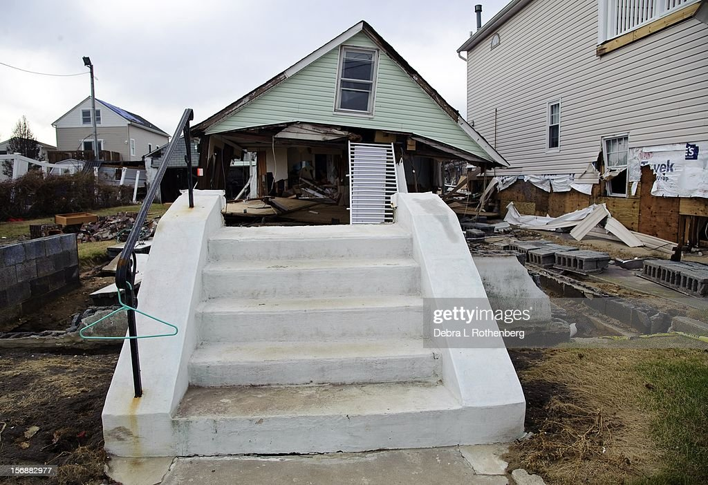 A general view of the destruction caused by Hurricane Sandy on November 16, 2012 in Union Beach, New Jersey. Hurricane Sandy devastated this tiny waterfront town. Residents were allowed back in 3 days ago to see what is left of their homes.