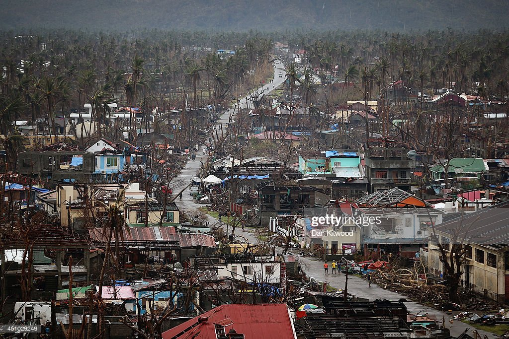 A general view of the destruction in Tolosa on November 21 2013 in Leyte Philippines Typhoon Haiyan which ripped through the Philippines over a week...