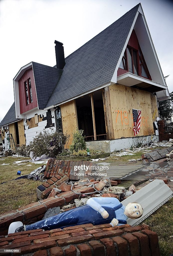 A general view of the destruction on Prospect Avenue after Hurricane Sandy on November 16, 2012 in Union Beach, New Jersey. Hurricane Sandy devastated this tiny waterfront town. Residents were allowed back in 3 days ago to see what is left of their homes.