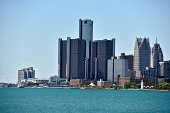 A general view of the Detroit skyline and the Renaissance Center on August 13 2014 in Detroit Michigan