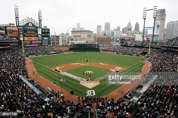 A general view of the Detroit Tigers and the Kansas City Royals lined up on the foul lines for the performance of the National Anthem by Miss America...