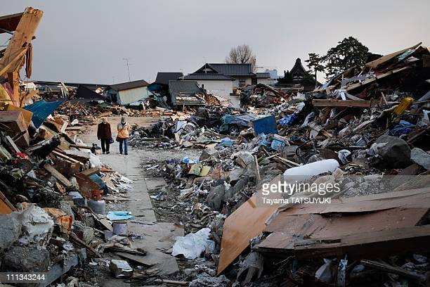 A general view of the devastation caused by the massive earthquake and tsunami on March 28 2011 in Ishinomaki City Miyagi Prefecture North Eastern...