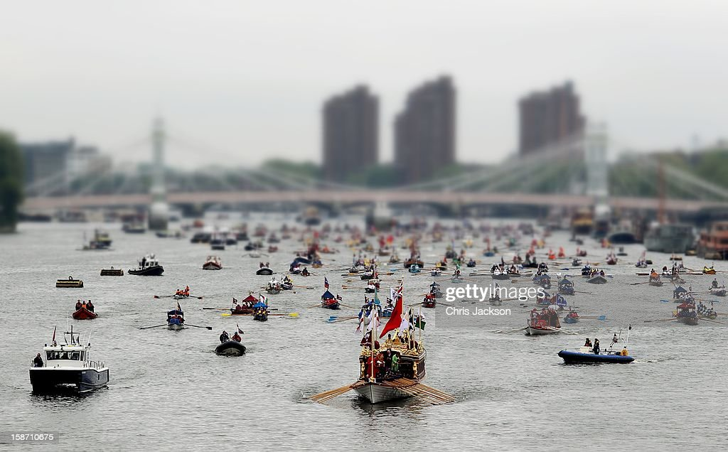 A general view of the Diamond Jubilee Thames River Pageant on June 3, 2012 in London, England. For only the second time in its history the UK celebrates the Diamond Jubilee of a monarch. Her Majesty Queen Elizabeth II celebrates the 60th anniversary of her ascension to the throne. Thousands of well-wishers from around the world have flocked to London to witness the spectacle of the weekend's celebrations. The Queen along with all members of the royal family will participate in a River Pageant with a flotilla of a 1,000 boats accompanying them down the Thames.