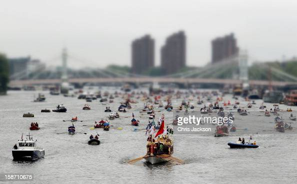 A general view of the Diamond Jubilee Thames River Pageant on June 3 2012 in London England For only the second time in its history the UK celebrates...