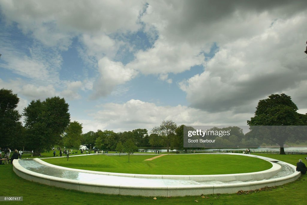 A general view of The Diana, Princess of Wales Memorial Fountain in Hyde Park on June 29, 2004 in London, England. The fountain by the American designer Kathrun Gustafson has been filled with water a week ahead of its ceremonial opening by the Queen.