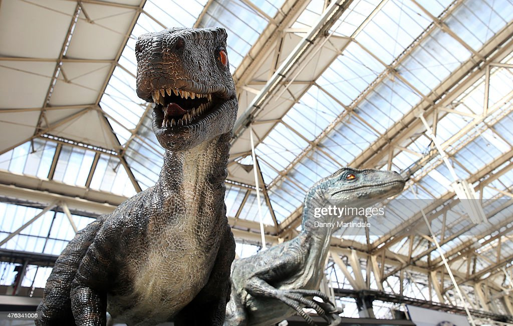 A general view of the dinosaurs during the 'Jurassic World' take over at Waterloo Station on June 8 2015 in London England