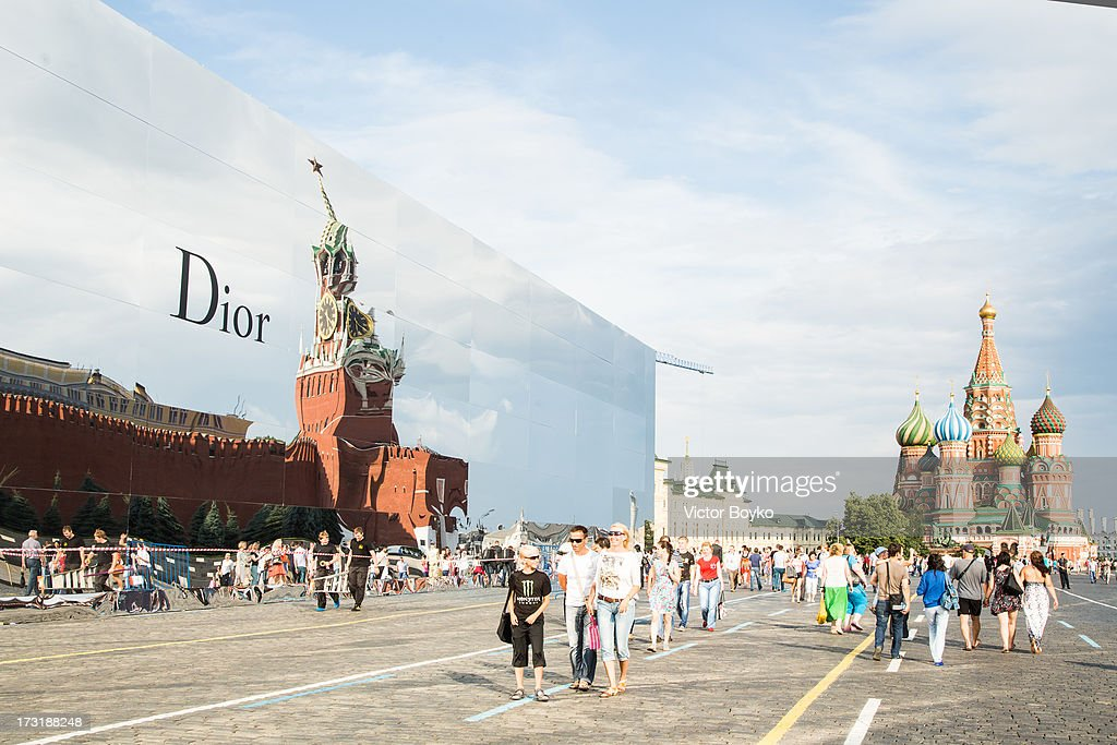 A general view of the Dior booth at the Dior A/W 2013-2014 show in Red Square on July 9, 2013 in Moscow, Russia.