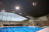 A general view of the diving pool during a British Diving training session at the London Aquatics Centre on January 22 2014 in London England