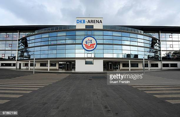 A general view of the DKB Arena before the Second Bundesliga match between FC Hansa Rostock and MSV Duisburg at the DKB Arena on March 19 2010 in...