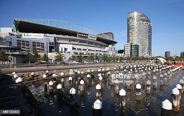A general view of the Docklands Precinct is seen looking over to Etihad Stadium on August 24 2015 in Melbourne Australia