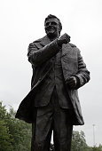 A general view of the Don Revie statue outside Elland Road during the Pre Season Friendly match between Leeds United and Everton at Elland Road on...