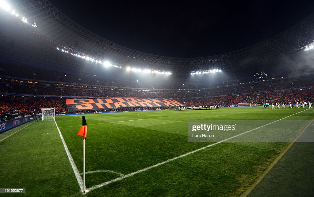 A general view of the Donbass Arena prior to the UEFA Champions League Round of 16 first leg match between Shakhtar Donetsk and Borussia Dortmund at Donbass Arena on February 13, 2013 in Donetsk, Ukraine.