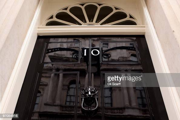 A general view of the door for Number 10 Downing Street on February 25 2010 in London England As the UK gears up for one of the most hotly contested...