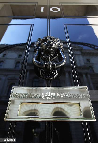 A general view of the door to number 10 Downing Street on August 16 2010 in London England