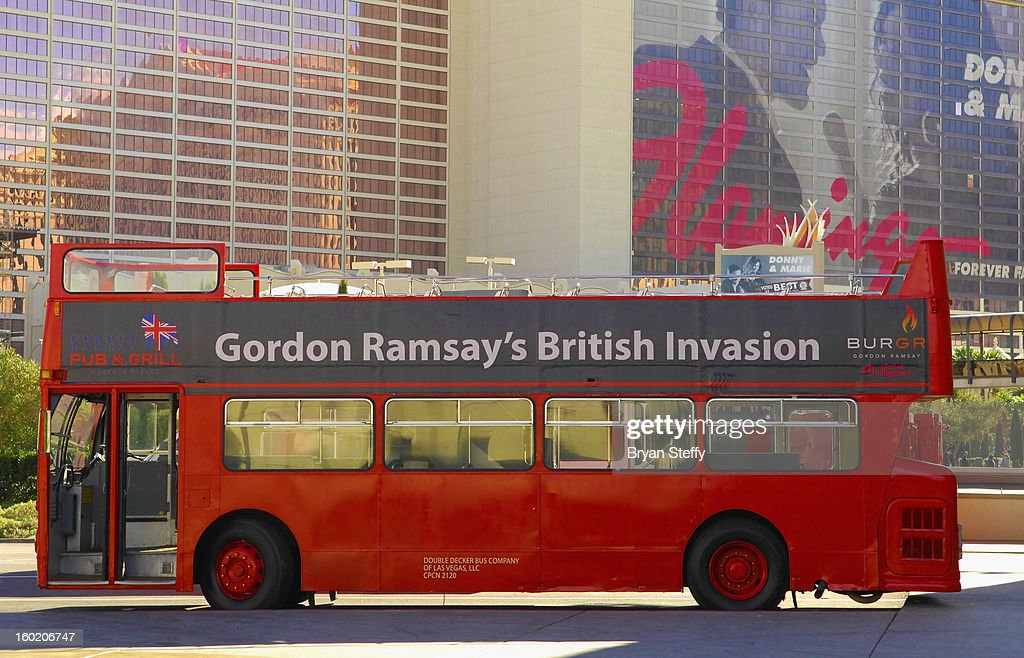A general view of the double decker bus transporting guests between television personality and chef Gordon Ramsay's new restaurants Gordon Ramsay Pub & Grill at Caesars Palace and Gordon Ramsay BurGR at Planet Hollywood Resort & Casino on January 27, 2013 in Las Vegas, Nevada.