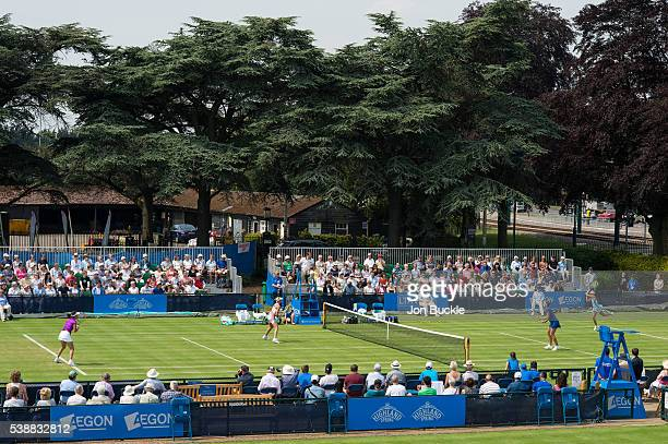 General view of the doubles action on court 2 on day three of the WTA Aegon Open on June 8 2016 in Nottingham England