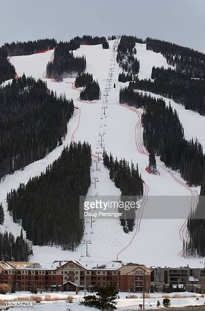 A general view of the downhill cousre as it descends to the village at the US Ski Team Speed Center at Copper on November 15 2011 in Copper Mountain...
