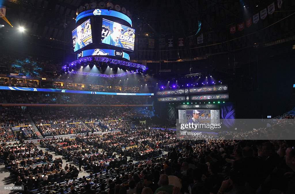 A general view of the draft area after the first overall pick by the Toronto Maple Leafs is seen during round one of the 2016 NHL Draft at First Niagara Center on June 24, 2016 in Buffalo, New York.