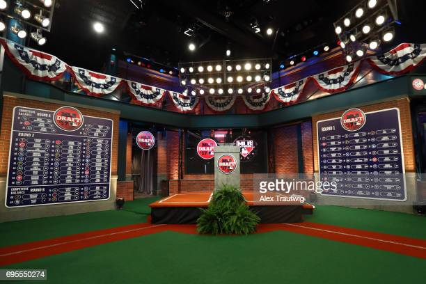A general view of the draft boards after the first two round of the 2017 Major League Baseball Draft at Studio 42 at the MLB Network on Monday June...