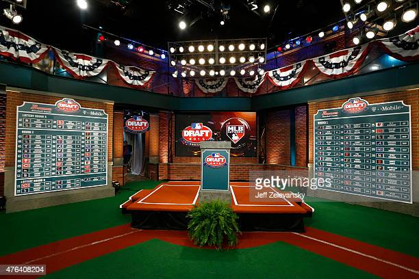 A general view of the draft boards after the first two rounds of the 2015 Major League Baseball FirstYear Player Draft at MLB Network's Studio 42 on...